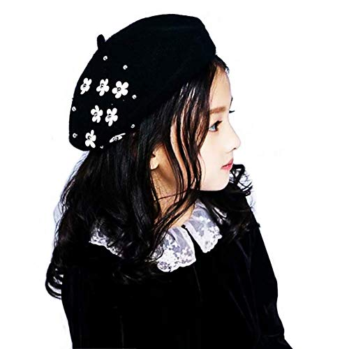 (1A2B3C Wool Berets for Girls - French Beret for Girls - Artist Hat for Girls (Black))