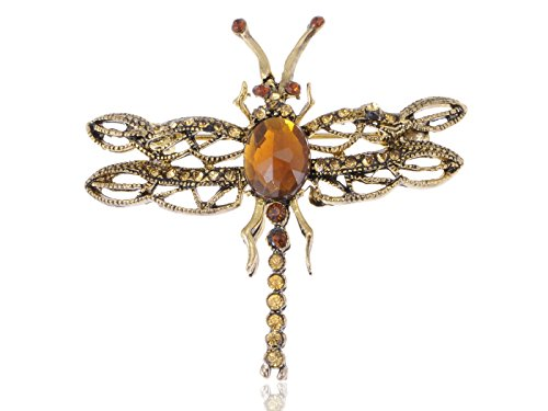 Alilang Amber Yellow Crystal Rhinestone Dragonfly Insect Bug Antique Pin Brooch