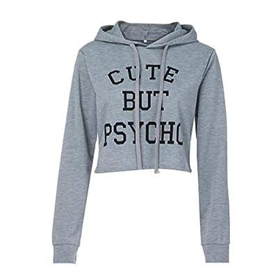Sumen Teen Girls Long Sleeve Funny Saying Letter Printing Sweatshirt Cute Crop Tops