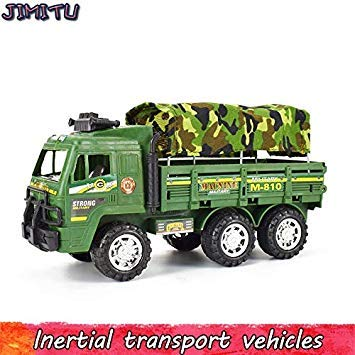 Inertial Military Diecast Truck Vehicle Model Camouflage Simulation Army Transport Car Toy for Boy Kid Educational Pull Back Toy