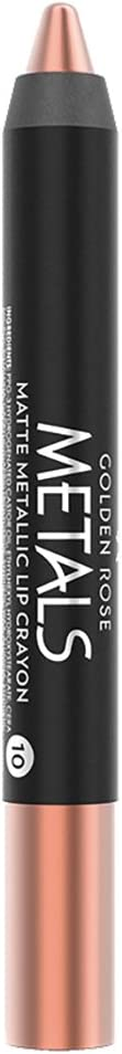 Golden Rose Matte Lipstick Crayon, Metallic Lip Pencil - 10 Gold