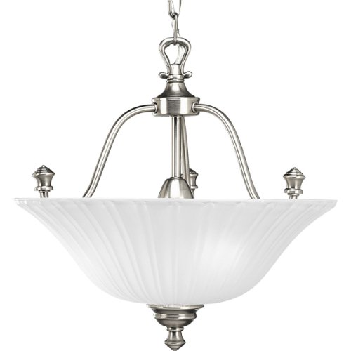 Progress Lighting P3607-81 3-Light Semi-Flush Close-To-Ceiling with Etched Glass, Antique Nickel