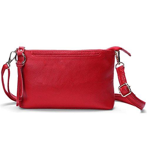 SCIEN Women Small Leather Crossbody Purse Zipper Clutch Wallet Cell Phone Bgas,Red