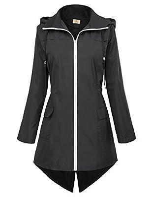 GRACE KARIN Womens Waterproof Raincoat Hoodie Windproof Hiking Coat CLAF0257