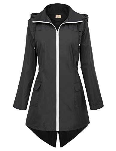 Grace Two Light (GRACE KARIN Womens Lightweight Hooded Waterproof Active Outdoor Rain Jacket Size L Black)