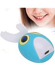 Elektrische tandenborstel voor kinderen, IPX7 waterdichte U-vorm siliconen slimme tandenborstel, USB oplaadbare reinigingstandenborstel met 3 functies(7-12 años-blauw)
