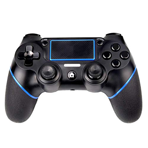 PS4 Controller, Sades C200 Wireless Bluetooth Gamepad DualShock 4 Controller for Playstation 4 Touch Panel Joypad with Dual Vibration Game Remote Control Joystick (Black&Blue) by SADES