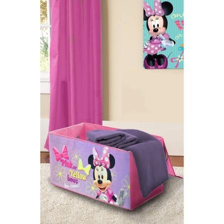 Disney Minnie Mouse 2 Attached Guardrails, Sturdy Steel Frame, Durable Toddler Bed with BONUS Collapsible Colorful, Fun, Toy Box