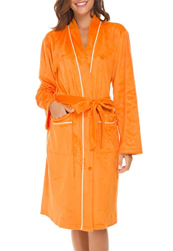 Invug Women Kimono Bathrobe Soft Flannel Sleepwear Fleece Spa Robes with Pockets Orange S -