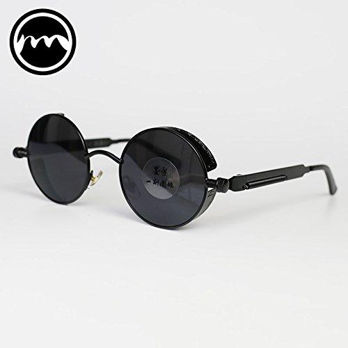 Punk sol box Box Hip Hop Mirror Black VVIIYJ Gafas de mirror Hombre mujer redondas de Black sol black Gafas Black de Gafas EnHwxCp0q