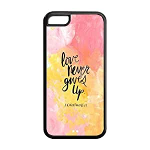the Case Shop- Motto Never Give Up TPU Rubber Hard Back Case Silicone Cover Skin for iPhone 5C , i5cxq-504