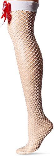 Music Legs Womens Cross and Satin Bow Nurse Diamond Net Thigh High Tights