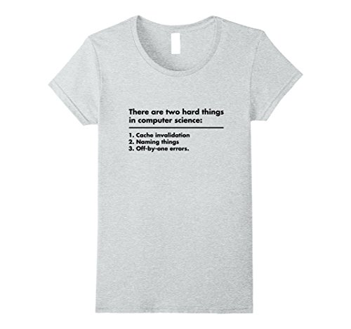 ae2d91d9 Womens Two hard things in Computer Science Funny Programmer shirt! XL  Heather Gr