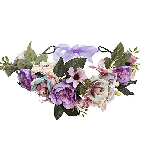 Purple Garland Headpiece Vintage Rose Flower Headband Wreath Hairband Party Girl Hair Accessories Crown with Ribbon,9016a -