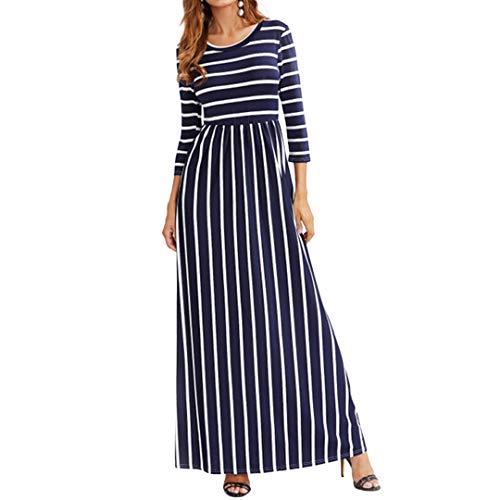Novia's Choice Women 3/4 Sleeve Long Dress Striped Maxi Dress Casual High Waist Boatneck Beach Dress(Blue L) ()
