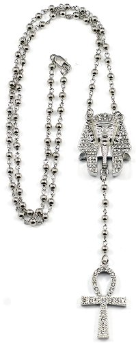 GWOOD Pharaoh With Ankh Necklace New Iced Out Style Rosary Silver Color 31 Inch Long Chain