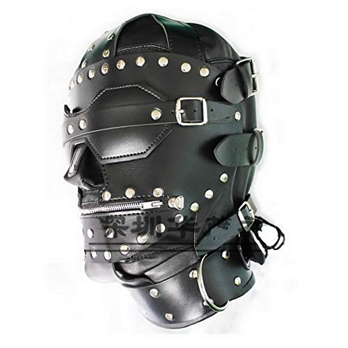 (Morningleon New Stud Design Leather Hoods Muzzle Mask Zipper Full Head Harness Mask Cosplay Role Play Costume)