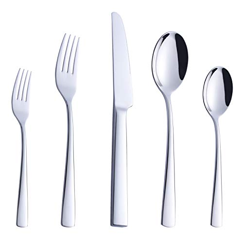 ROYDOM Silverware Set, 20 Piece Stainless Steel Flatware, Heavy Weight Cutlery Eating Utensils, Forks Knives Spoons Service for 4, Mirror Finish Dishwasher Safe ()