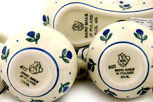 Polish Pottery 5¾-inch Seasoning Set made by Ceramika Artystyczna (Blue Buds Theme) + Certificate of Authenticity by Polmedia Polish Pottery (Image #5)