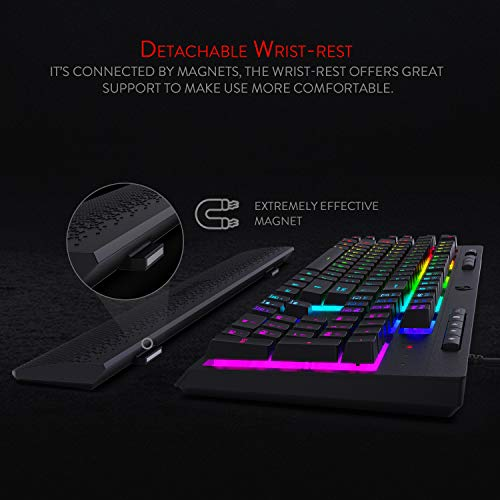 Redragon K512 Shiva RGB Backlit Membrane Gaming Keyboard with Multimedia Keys, Quiet Mechanical Feeling Keyboard, 6 Extra On-Board Macro Keys, Dedicated Media Control, Detachable Wrist Rest