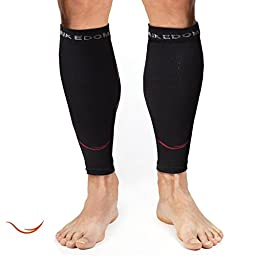 Rikedom Sports Graduated Compression Calf Sleeves Guard Socks (1 Pair), Relief Prevent Shin Splints, Calf Strain, Boost Circulation, Faster Recovery Leg Sleeves Support or Men and Women, Protection for Running, Walking, Cycling, Crossfit, Basketball, Trai