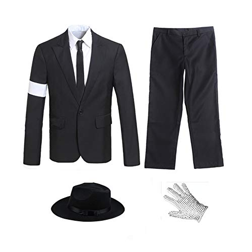 Michael Jackson Costume For Halloween (Michael Jackson Costume Adults Child Dangerous Armband Danceing Black Suit (Height: 4.7(Slim Fit),)