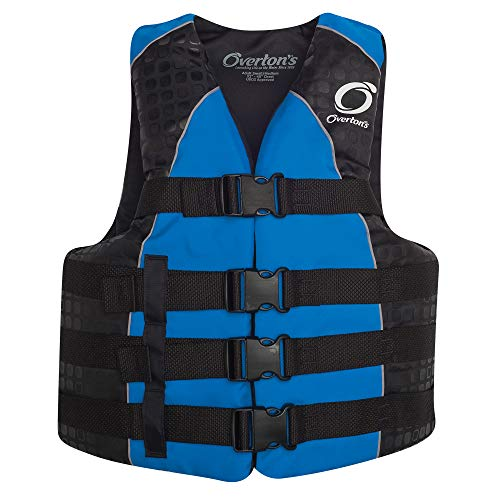 Overton's Men's 4-Buckle Nylon Vest Blue (L/XL) (Mens Buckle 4 Vest)