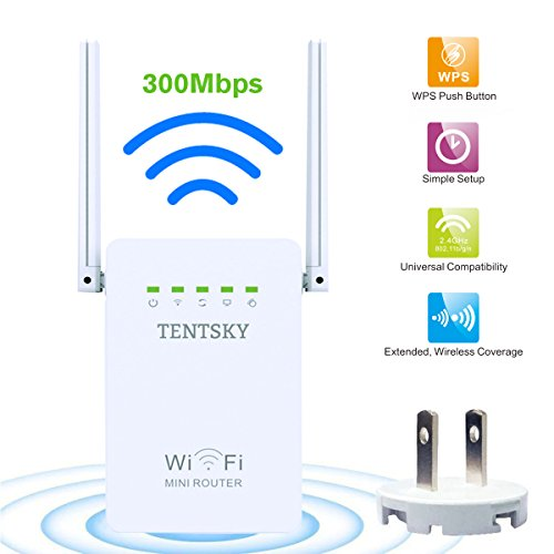 300Mbps WiFi Router TENTSKY Long Range Extender 2.4GHz WiFi Repeater Signal Amplifier Booster Network Extender with Dual Band Antenna Complies IEEE802.11n/g/b with WPS Repeater/Router/AP Mode