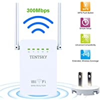 300Mbps WIFI Range Extender, TENTSKY 2.4G Wireless WiFi Repeater Signal Amplifier Booster Supports Repeater/Access Point/Router Mode with Network Interface
