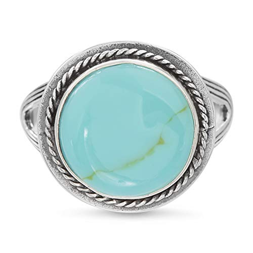 Willowbird Simulated Turquoise Rope Edged Ring for Women in Rhodium Plated 925 Sterling Silver (Size 7)