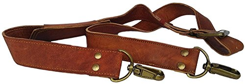 DHK Leather Adjustable Padded Replacement Shoulder Strap with Metal Swivel Hooks for Messenger, Laptop, Camera, Duffle Bags & More