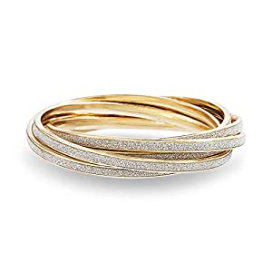 Steve Madden Glitter Design Interlocking Bangle Bracelet for Women