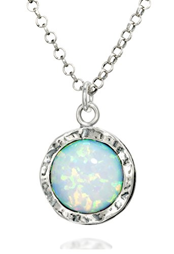 Shimmering 925 Sterling Silver Necklace with Round Created White Opal Pendant, 18