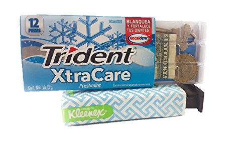 Kleenex & Trident Diversion Safe Box Stash Hidden Storage for Cash 2 Pack Bundle Secret Box Discreet Safes Travel Money/Bank/Keys (Storage Secret Safe)