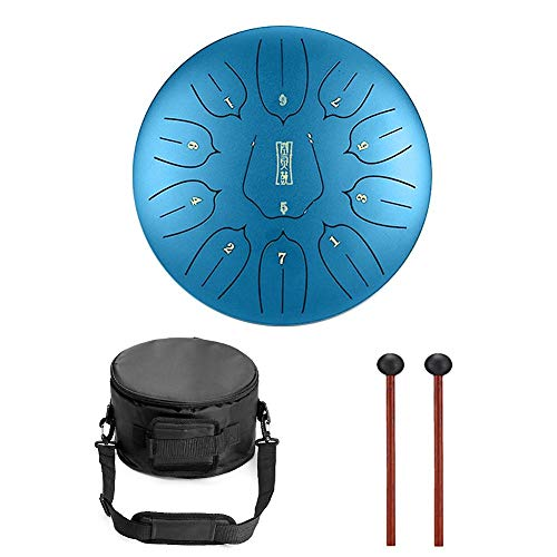Niome 12 Inch Steel Tongue Drum 11 Notes Black w/Travel Bag and Mallets,Tank Drum Chakra Drum,Percussion Hang Drum Instrument by Niome (Image #1)