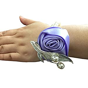 Jackcsale Fashion Wedding Bridesmaid Wrist Flower Corsage Party Hand Flower Decor with Faux Pearl Bead Wristband (Pack of 2, Lavender) 8