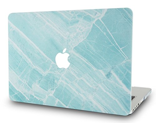 LuvCase Rubberized Plastic Hard Shell Cover Compatible MacBook Pro 13 inch A1989 / A1708 / A1706 with/without Touch Bar, Newest Release 2019/2018/2017/2016 (Blue White Marble - Plastic Blue Rubberized Case