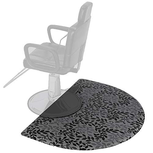 (Mefeir 3' x 5' Semi Circle Salon Mat Anti Fatigue for Hair Stylist, 5/8'' Thick Standing Floor Matt Under Styling Chair, Anti-Slip Warterproof Beauty Barber Supplies,Leaf Lines Color)