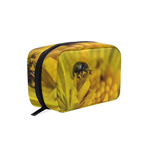 Cosmetic Makeup Bag Pouch Macro Insect Bug Flower Honey Bee Clutch -