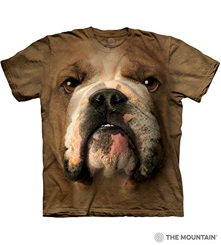 - The Mountain Bulldog Face Adult T-Shirt, Brown, Small
