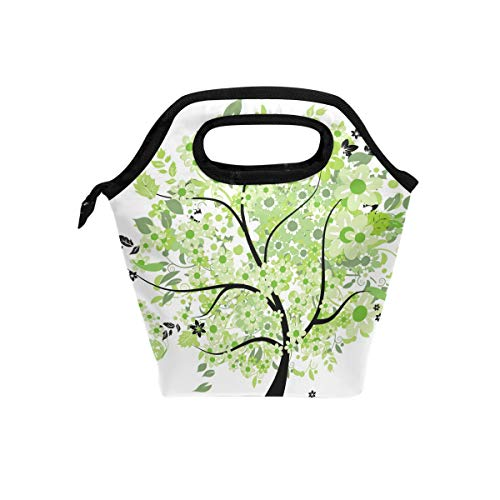 MALPLENA Green Spring Tree Clipart Picture tote lunch bag Insulated Meal ()