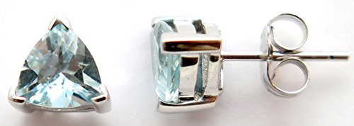 - 14K Solid White Gold Genuine AAA Aquamarine Trillion cut Stud Earrings