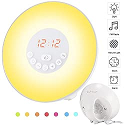 SHIGOO ART USB Charger With Touch Control Smart Snooze Function Sunrise Alarm Clock,FM Radio ,Nature Sounds Wake Up Light