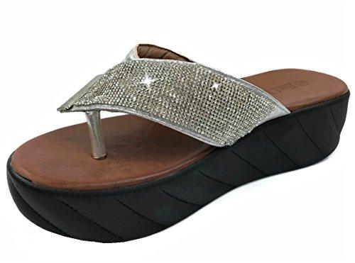 EmileDi Runs 1 Size Small, Order Size up. Rhinestone Platform Thong Sandal Flip-Flop Straps, Silver, ()