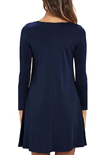 Blue Women's Loose Pocket Shirt T Navy Long Unbranded Sleeve Casual Dress f4qvpnwx