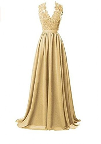 Evening Long Dresses Party Chiffon Back Prom V Bridesmaid Dress Hollow Gold Neck Botong EPxzIqXP