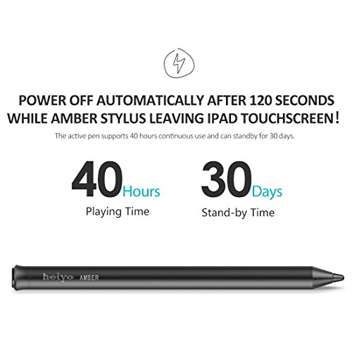 Heiyo iPad Active Stylus-Capacitive Digital Pen Supporting 40-Hour Playing Time 30-Day Stand 120-second Auto Power Off 3 Replaceable Fine Point Rubber Tips Touchscreen Styli Pencil iPad by Heiyo (Image #3)