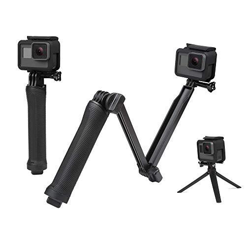 Csecurity 3-Way Monopod Grip Arm Tripod Foldable Selfie Stick Stabilizer Mount Holder for GoPro Hero 7/6/5, SJCAM SJ6, SJ7, SJ5000, Yi and All Action Cameras (Black)