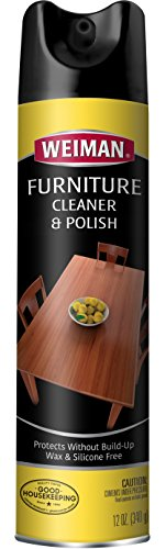 Weiman Wood Cleaner and Polish - Fresh Lemon Scent - 12 Ounce - Furniture Wood Polish Enhances Beauty and Woods Natural Luster Aerosol