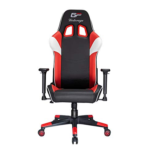 VICTORAGE Gaming Chair GP Series- Professional & Textured- Gaming/Streaming - Long time Sitting- Inspired by Racing car- Ergonomic Design- Rocking Function (RED) VICTORAGE